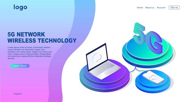 Tecnologia sem fio de rede 5g internet móvel da próxima geração modelo de design de página da web caixa