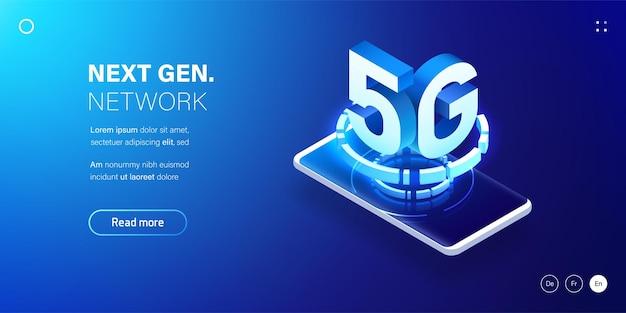 Tecnologia sem fio de rede 5g internet móvel de última geração.