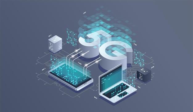 Tecnologia sem fio de rede 5g. rede de comunicação, ilustração isométrica de negócios.