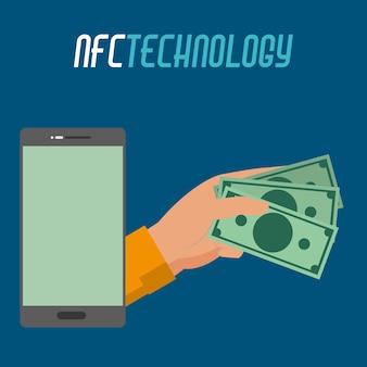 Tecnologia smartphhone e mão com dinheiro de contas