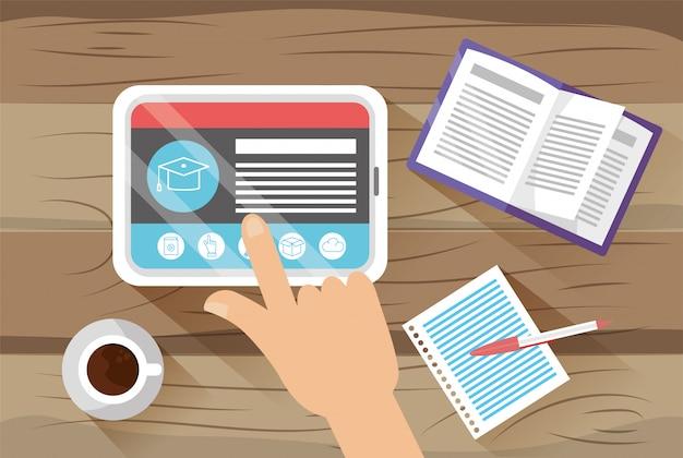 Tecnologia tablet com documentos elearning e livro
