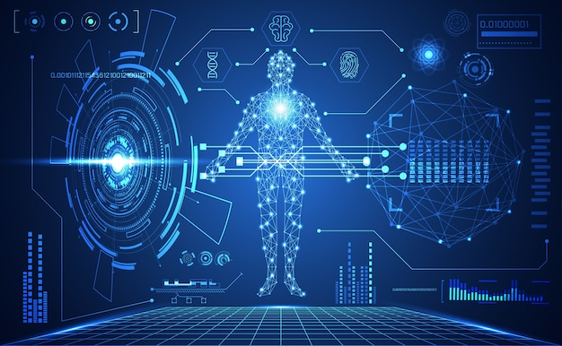 Tecnologia ui futurista humana médica hud interface