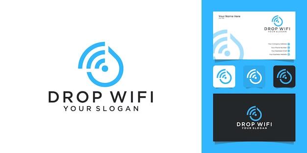 Tecnologia waterdrop com modelo de design de logotipo de combinação de wi-fi e cartão de visita