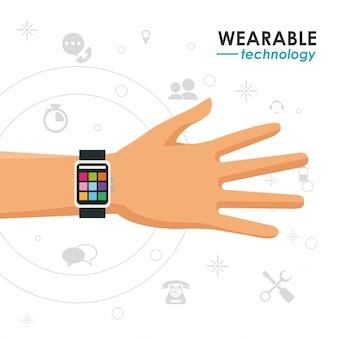 Tecnologia wearable mão smartwatch ícones de mídia