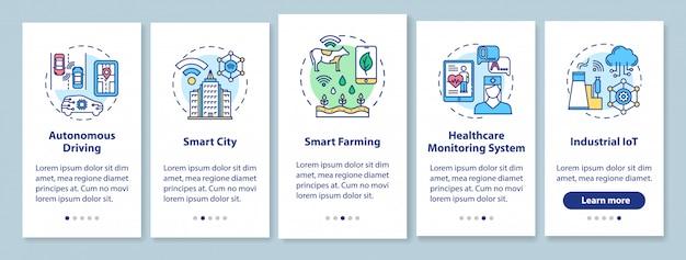 Tecnologias 5g integrando a tela da página do aplicativo móvel com conceitos lineares. condução autônoma. cidade inteligente.