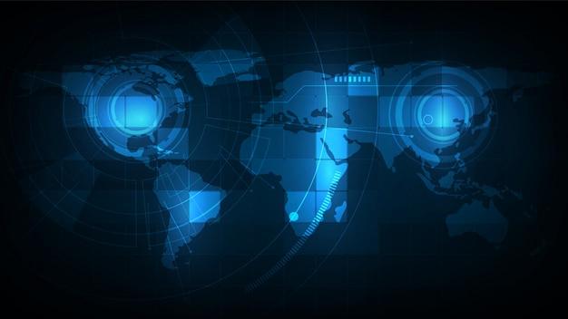 Tecnologias de conexão abstrata com mapa-múndi para negócios