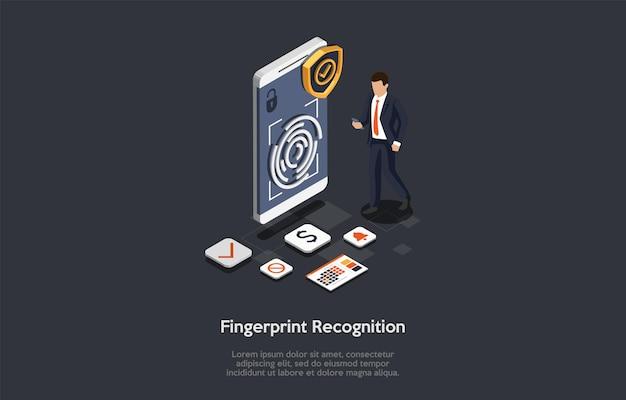 Tecnologias de inovação, conceito de reconhecimento de dedo. homem usa o reconhecimento de dedo para acessar as contas bancárias, calendário, despertador e outras funções no smartphone.