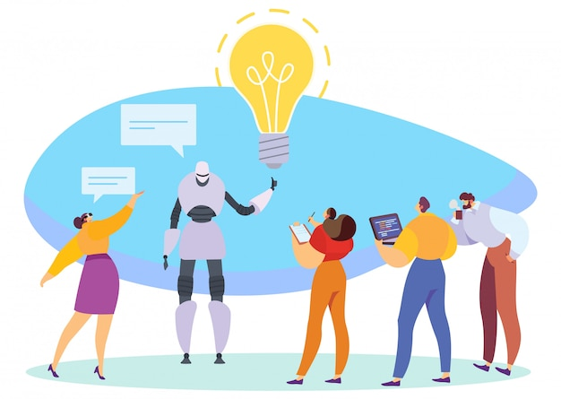 Tecnologias inovadoras, robô, apresentando a ideia de negócio, ilustração vetorial