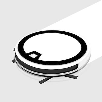 Tecnologias inteligentes. aspirador de p30 do robô no assoalho branco. ilustração.