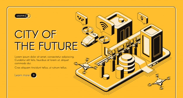Tecnologias inteligentes para banner de web vector isométrica cidade futuro cidadão, modelo de página de destino.