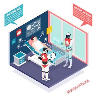 Tecnologias médicas modernas na composição isométrica de cuidados de saúde com dois nanorrobôs, preparando o paciente para ilustração de cirurgia