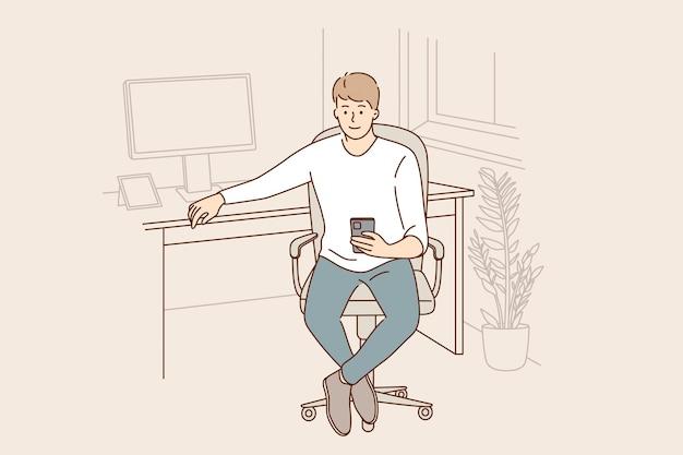 Tecnologias modernas e conceito de trabalho em escritório