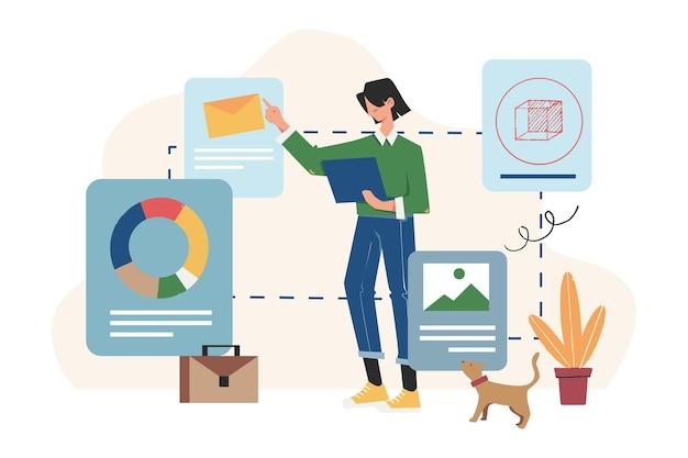Tecnologias modernas e inovadoras de negócios, realidade verdadeira e adicional