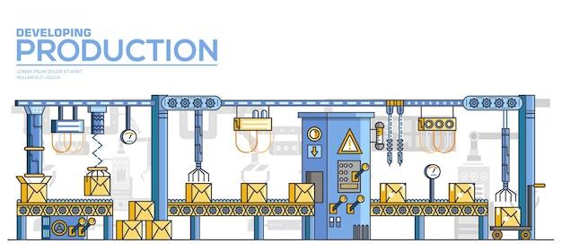 Tecnologias modernas para manufatura, produção de bens na fábrica ou planta.