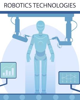 Tecnologias robóticas e banner da indústria inteligente