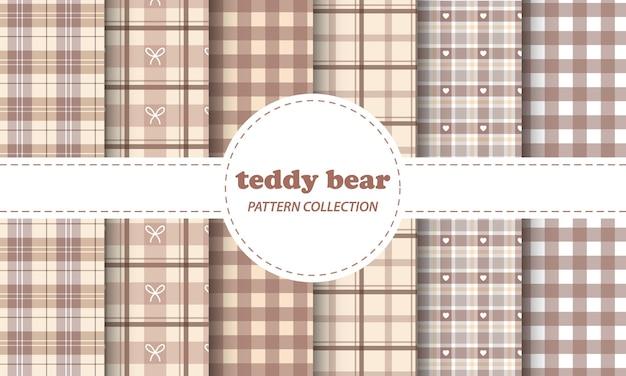Teddy bear seamless patterns