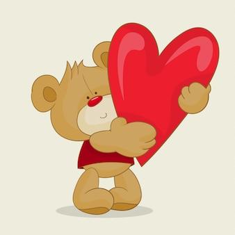 Teddy, segurando, um, grande, coração