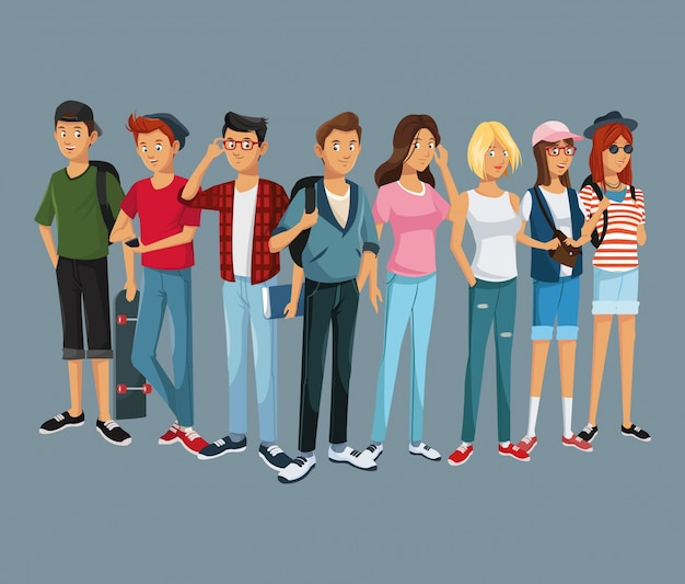 Teens group fashion student style modern