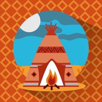 Teepee nativo americano com paisagem de fogueira