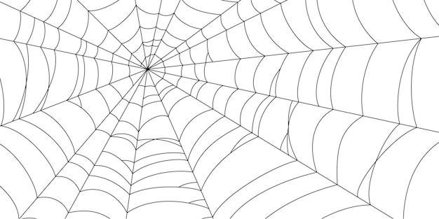 Teia de aranha assustadora. silhueta de teia de aranha preta isolada no fundo branco. bandeira desenhada de mão com teia de aranha para festa de halloween. ilustração vetorial