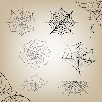 Teia de aranha conjunto halloween para objeto dia de halloween