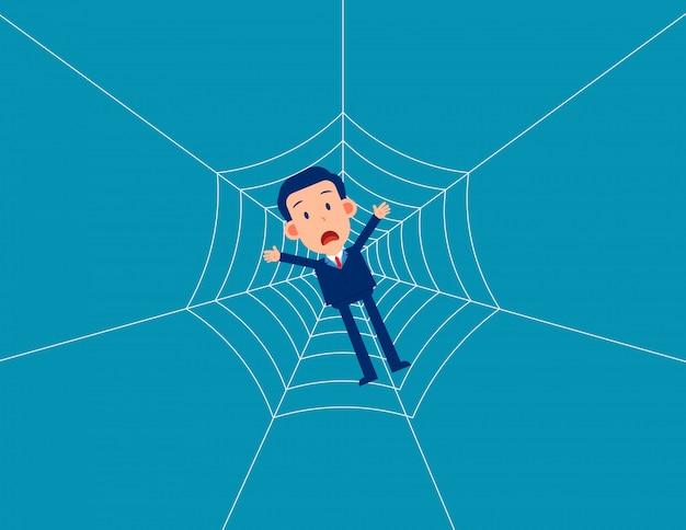 Teia de aranha de armadilha do homem. os negócios caem em uma armadilha