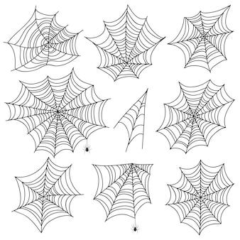Teia de aranha de halloween. silhuetas negras de teia de aranha e aranha. gráficos de vetor web assustador isolados no fundo branco