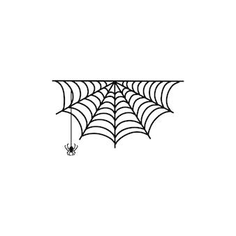 Teia de aranha de vetor e pequena aranha em um fundo branco.