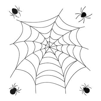 Teia de aranha e aranha halloween conjunto assustador aranhas doodle web decoração perigosa de web pendurada