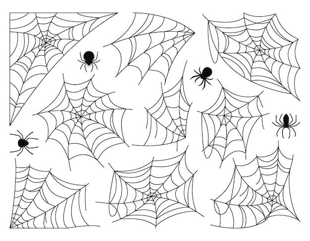 Teia de aranha e aranha halloween silhueta preta definida doodle assustador aranhas web decoração perigosa