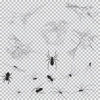 Teia de aranha e aranha negra silhueta definida para halloween isolado