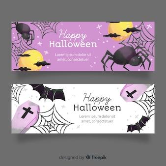 Teia de aranha e aranhas aquarela banners de halloween