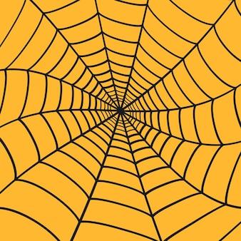 Teia de aranha preta em fundo laranja. teia de aranha. vetor
