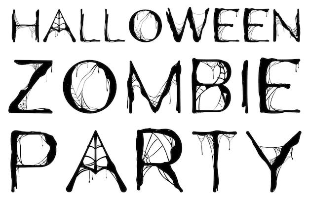 Teia de aranha texto festa zumbi halloween isolada no branco. ilustração vetorial