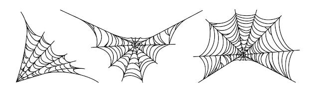 Teias de aranha isoladas no fundo branco. teias de aranha assustadoras de halloween. ilustração vetorial de contorno