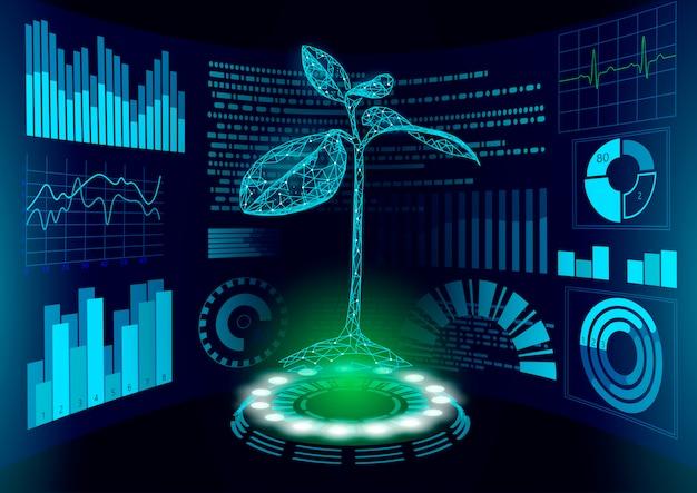 Tela 3d baixa poli verde planta hud ui. futuro triângulo poligonal ponto linha ecologia problemas solução abstrata biologia genoma engenharia ilustração futuro negócios tecnologia