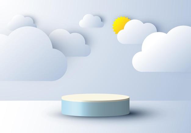 Tela 3d realista de pódio com nuvem e sol