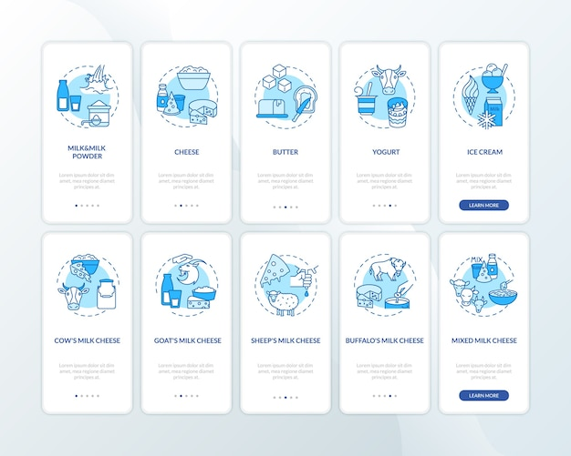 Tela azul da página do aplicativo móvel de integração da indústria de laticínios com o conjunto de conceitos