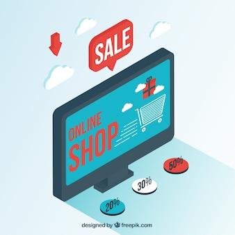 Tela com web de loja em estilo isométrico