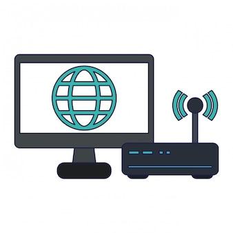 Tela computador, com, global, símbolo