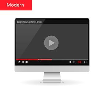 Tela computador, com, vídeo, modernos, jogador