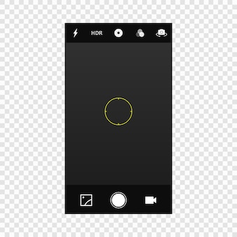 Tela da câmera do celular móvel