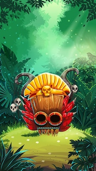 Tela da janela principal da interface de usuário do jogo móvel jungle shamans