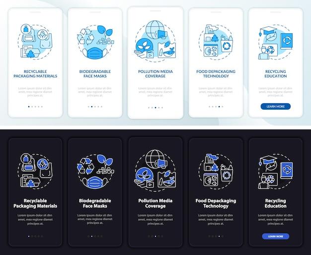 Tela da página de integração do aplicativo móvel para reciclagem de lixo