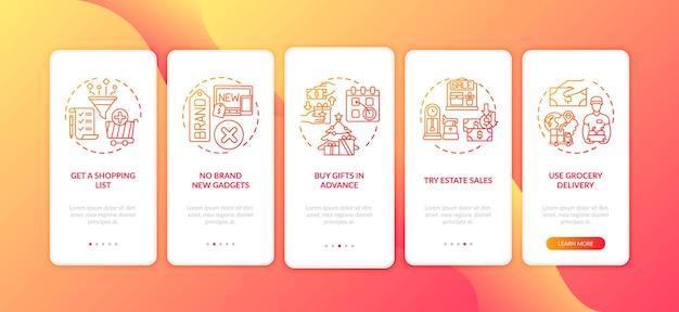 Tela da página do aplicativo móvel de dicas de compras com conceitos isolados