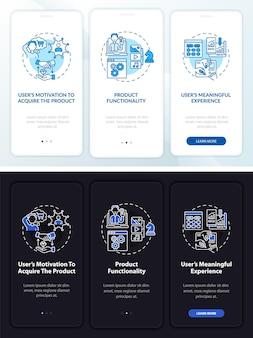 Tela da página do aplicativo móvel de dicas de experiência do usuário