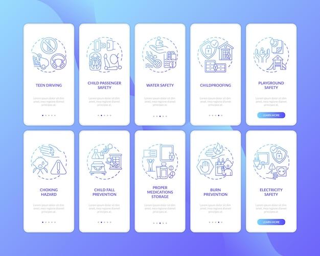 Tela da página do aplicativo móvel de integração azul escuro de segurança infantil com o conjunto de conceitos. proteção infantil passo a passo com cinco etapas de instruções gráficas modelo de iu com pacote de ilustrações coloridas