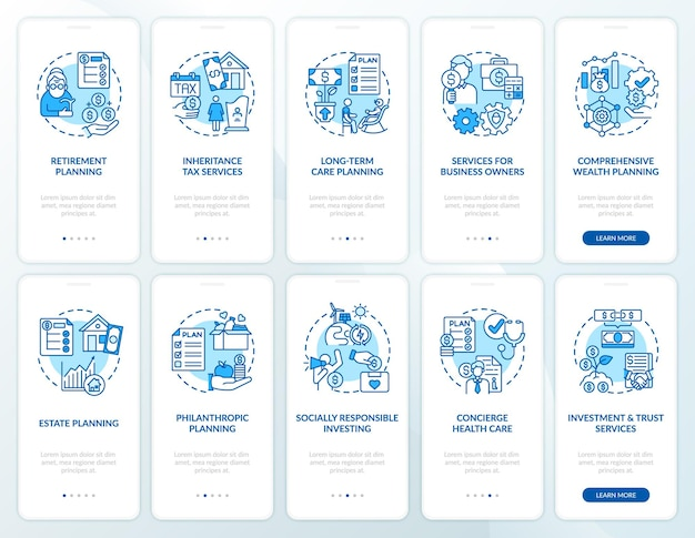 Tela da página do aplicativo móvel de integração da estratégia de prosperidade com o conjunto de conceitos. passo a passo de operações financeiras com instruções gráficas de 5 etapas