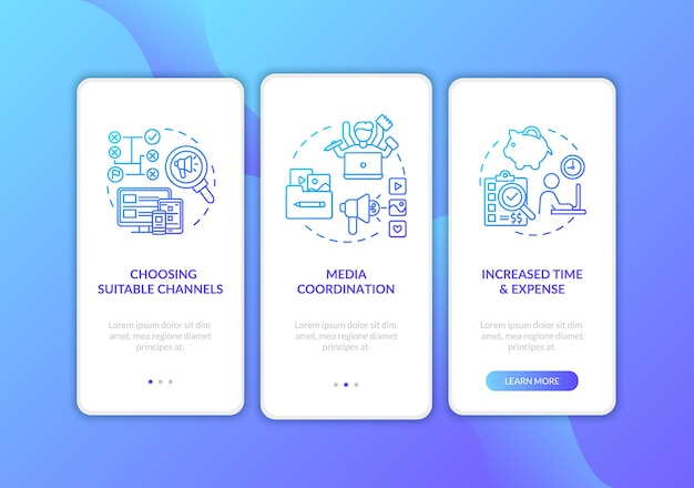 Tela da página do aplicativo móvel de integração da estratégia do canal de marketing com conceitos
