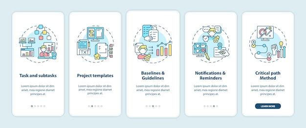 Tela da página do aplicativo móvel de integração da estrutura do software de trabalho remoto com conceitos
